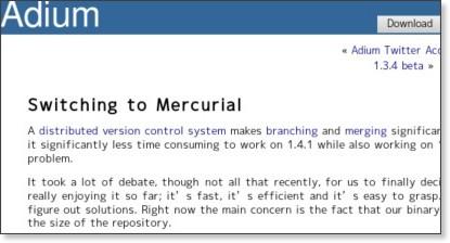 http://adiumx.com/blog/2009/04/switching-to-mercurial/