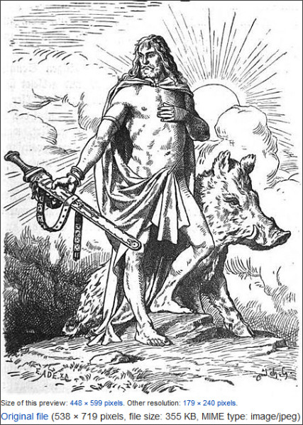 http://commons.wikimedia.org/wiki/File:Freyr_by_Johannes_Gehrts.jpg