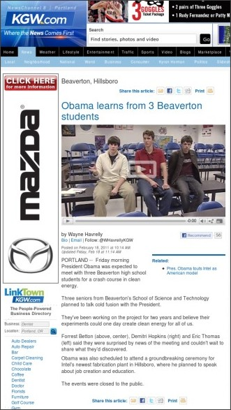 http://www.kgw.com/news/neighborhood-news/beaverton/Obama-learns-from-3-Beaverton-students-116483503.html