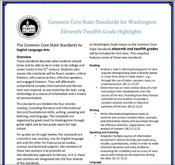 http://www.k12.wa.us/CoreStandards/pubdocs/CCSSGrade11-12Highlights.pdf