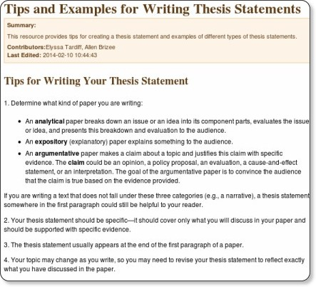 owl purdue thesis This video helps you consider the form and function of thesis statements and give you tips for writing statements that are specific to your text's.