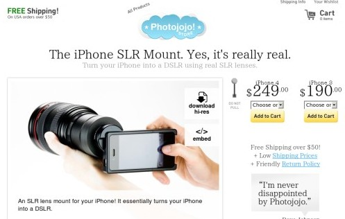 http://photojojo.com/store/awesomeness/iphone-slr-mount/