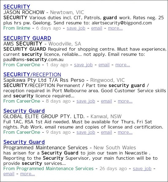 http://www.indeed.com.au/Security-Guard-jobs