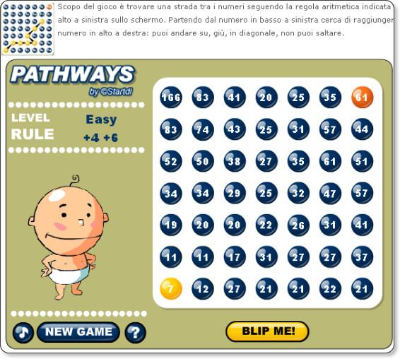 http://www.matematicamente.it/giochi_e_gare/gioca_con_la_matematica/patway%3a_trova_la_strada_tra_i_numeri_200901235079/