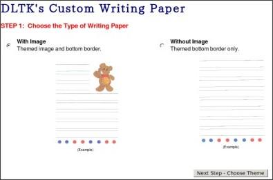 Dltk custom writing paper size