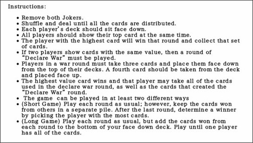 Card Wars Card Game Rules Card Game Rules For