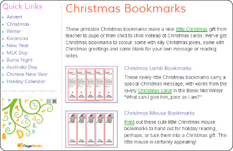 http://www.activityvillage.co.uk/christmas-bookmarks