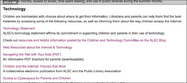 http://www.ala.org/alsc/publications-resources/professional-tools#technology