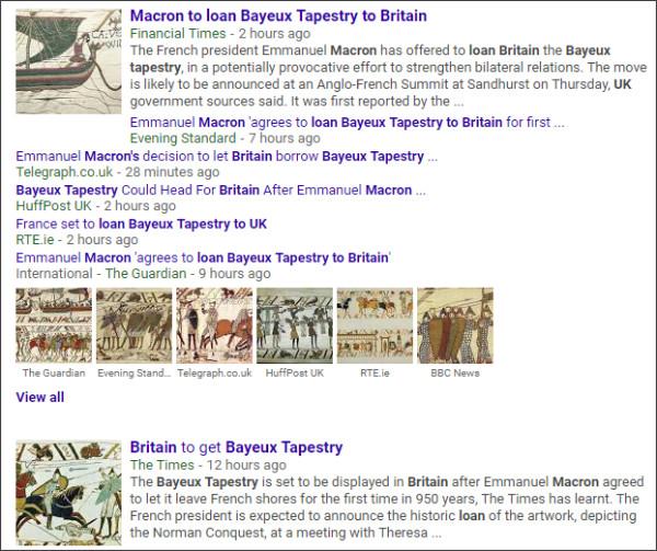 https://www.google.com/search?q=Macron+to+loan+Bayeux+Tapestry+to+Britain&source=lnms&tbm=nws&sa=X&ved=0ahUKEwjH1qPw4t7YAhUI6GMKHQkfCx8Q_AUICigB&biw=1245&bih=793