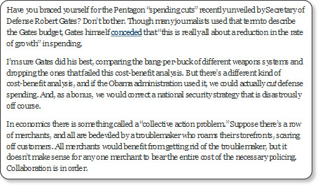 http://opinionator.blogs.nytimes.com/2011/01/18/cut-defense-spending-lead-the-world/?ref=opinion