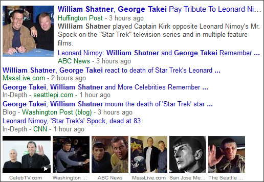 https://www.google.com/search?hl=en&gl=us&tbm=nws&authuser=0&q=William+Shatner&oq=William+Shatner&gs_l=news-cc.12..43j0l10j43i53.2218.2218.0.3521.1.1.0.0.0.0.149.149.0j1.1.0...0.0...1ac.2.0fDNkmdTW84#hl=en&gl=us&authuser=0&tbm=nws&q=William+Shatner%E3%80%80George+Takei