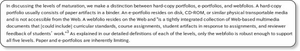 http://www.educause.edu/ero/article/portfolios-webfolios-and-beyond-levels-maturation