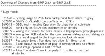 http://developer.gimp.org/NEWS-2.6
