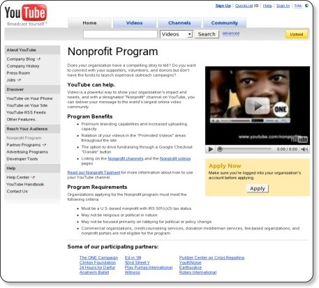http://youtube.com/nonprofits