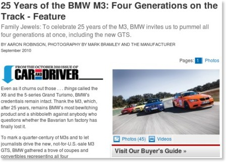 http://www.caranddriver.com/features/10q3/25_years_of_the_bmw_m3_four_generations_on_the_track-feature