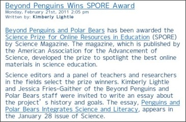 http://expertvoices.nsdl.org/middle-school-math-science/2011/02/21/beyond-penguins-wins-spore-award/