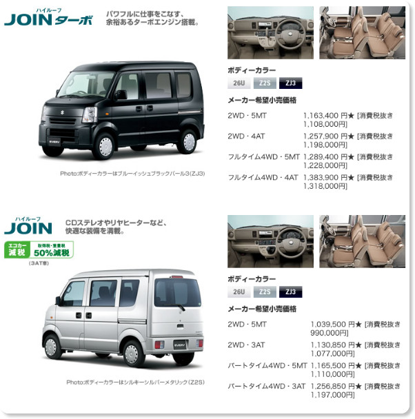http://www.suzuki.co.jp/car/every/grade_price/index.html