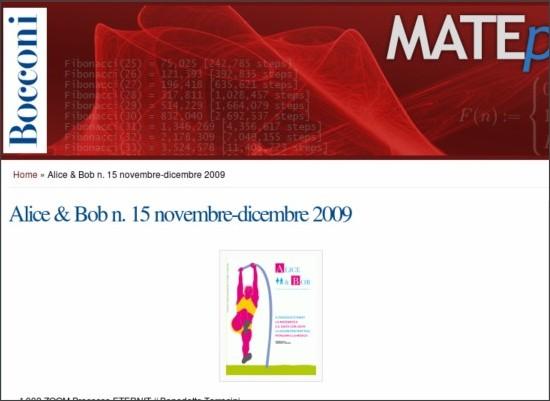 http://matematica.unibocconi.it/pubblicazioni/alice-bob-n-15-novembre-dicembre-2009