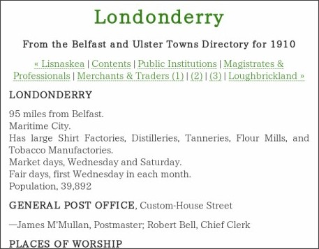 http://www.libraryireland.com/UlsterDirectory1910/Londonderry.php