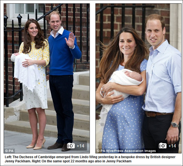 http://www.dailymail.co.uk/femail/article-3066169/Kate-Middleton-wears-Jenny-Packham-dress-leave-hospital-having-royal-baby.html