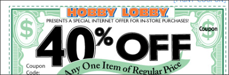 Hobby Lobby 40%off Coupon Jan 19 – 24 2008 | As Life Goes ...