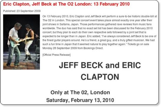 http://www.whereseric.com/news/eric-clapton-jeff-beck-o2-london-13-february-2010