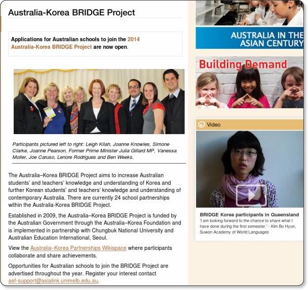 http://www.asiaeducation.edu.au/teachers/bridge_school_partnerships/korea_bridge.html