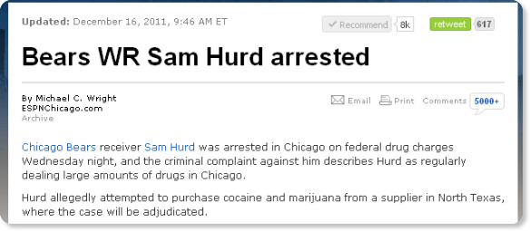 http://espn.go.com/chicago/nfl/story/_/id/7355706/chicago-bears-sam-hurd-arrested-drug-charges