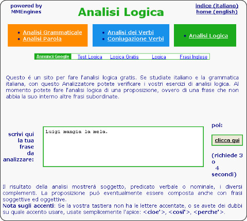Analisi logica online for Interno analisi grammaticale