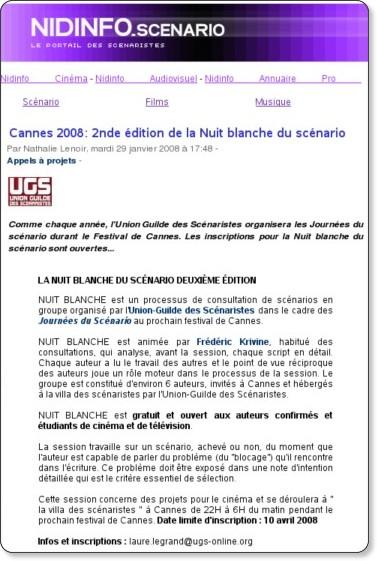 2nde édition de la Nuit blanche du scénario - nidinfo scénariste