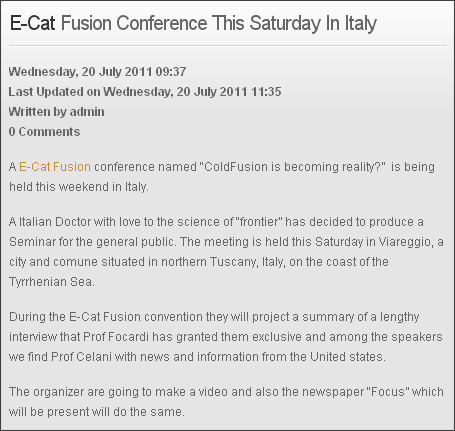 http://ecatfusion.com/news/e-cat-fusion-conference-this-saturday-in-italia