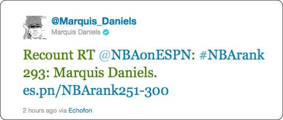 http://twitter.com/#!/Marquis_Daniels/status/111629379699884032
