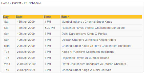 http://www.maxtelevision.com/ipl_schedule.php