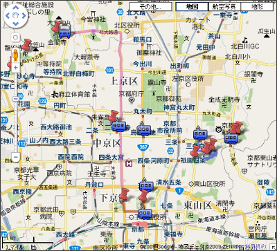 http://maps.google.co.jp/maps/ms?hl=ja&source=hp&ie=UTF8&brcurrent=3,0x6001a8d6cd3cc3f1:0xc0961d366bbb1d3d,0&msa=0&msid=107453691789156079721.00047c3c7cc1d11aaaf0b&ll=35.012705,135.76664&spn=0.075499,0.11776&z=13