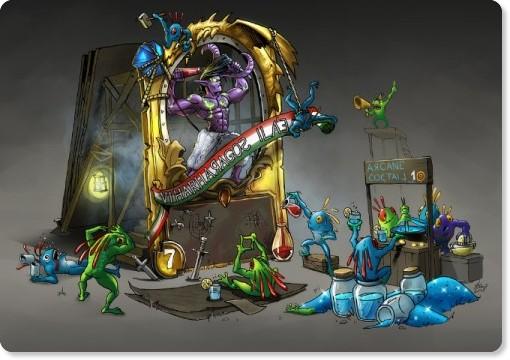 http://hunqwert.deviantart.com/art/Creating-a-legendary-card-Hearthstone-fanart-410840060