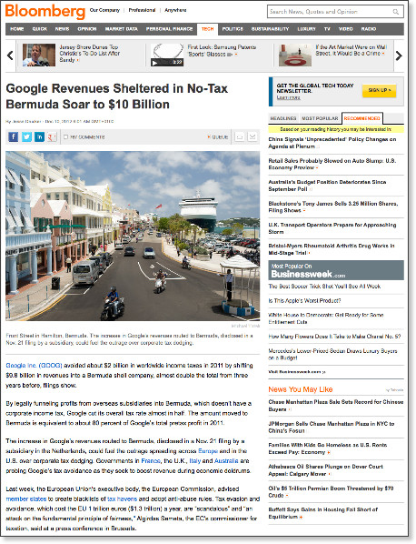 http://www.bloomberg.com/news/2012-12-10/google-revenues-sheltered-in-no-tax-bermuda-soar-to-10-billion.html