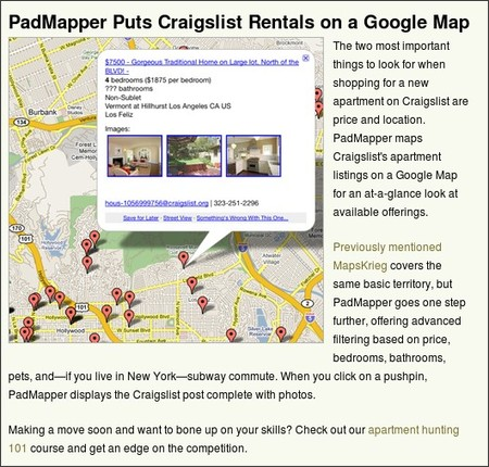 http://lifehacker.com/5162865/padmapper-puts-craigslist-rentals-on-a-google-map