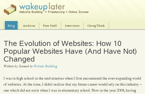 http://www.wakeuplater.com/website-building/evolution-of-websites-10-popular-websites.aspx
