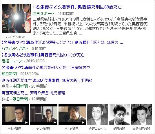 https://www.google.co.jp/search?hl=ja&gl=jp&tbm=nws&authuser=0&q=%E5%90%8D%E5%BC%B5&oq=%E5%90%8D%E5%BC%B5&gs_l=news-cc.3..43j43i53.1555.3113.0.3964.7.3.0.4.4.0.131.349.0j3.3.0...0.0...1ac.-mPzU9dLXcw#hl=ja&gl=jp&authuser=0&tbm=nws&q=%E5%90%8D%E5%BC%B5%E6%AF%92%E3%81%B6%E3%81%A9%E3%81%86%E9%85%92%E4%BA%8B%E4%BB%B6%E3%80%80%E5%A5%A5%E8%A5%BF%E5%8B%9D%E3%80%80%E5%85%AB%E7%8E%8B%E5%AD%90