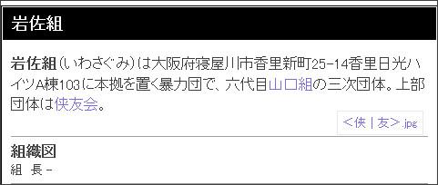 http://webcache.googleusercontent.com/search?q=cache:WD4aj9SJt88J:wikiyakuza.wiki.fc2.com/wiki/%25E5%25B2%25A9%25E4%25BD%2590%25E7%25B5%2584+&cd=1&hl=ja&ct=clnk&gl=jp