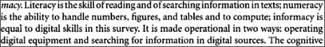 http://books.google.com.au/books?id=_Hf_Jk44Et8C&pg=PA246&lpg=PA246&dq=Define+Informacy&source=bl&ots=kzPzhk9g3n&sig=BiSyLmhxKo9Ijd6UFI4La8gKN6M&hl=en&ei=dhFgS9r-IMyOkQXu9enzCw&sa=X&oi=book_result&ct=result&resnum=1&ved=0CAcQ6AEwAA#v=onepage&q=&f=false