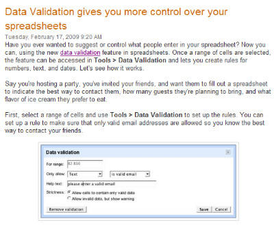 http://googledocs.blogspot.com/2009/02/data-validation-gives-you-more-control.html