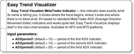 http://www.earnforex.com/metatrader-indicators/EasyTrendVisualizer