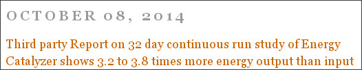 http://nextbigfuture.com/2014/10/third-party-report-on-32-day-continuous.html
