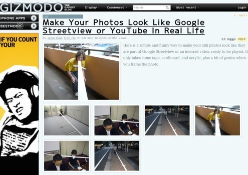 http://gizmodo.com/5273292/make-your-photos-look-like-google-streetview-or-youtube-in-real-life
