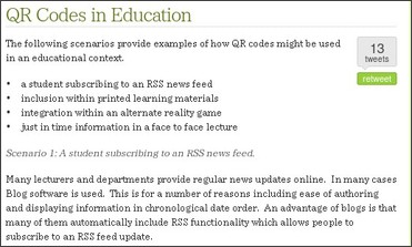 http://blogs.bath.ac.uk/qrcode/qr-codes-in-education/