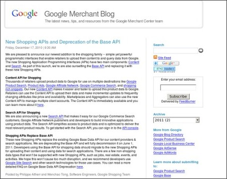 http://googlemerchantblog.blogspot.com/2010/12/new-shopping-apis-and-deprecation-of.html