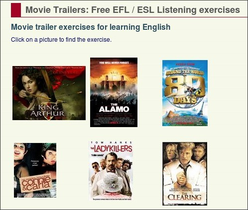 http://eolf.univ-fcomte.fr/index.php?page=movie-trailers-dictation-exercises
