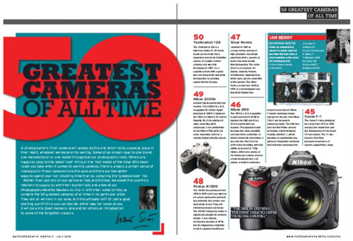 http://www.photographymonthly.com/Magazine/2010/50-Greatest-Cameras-of-All-Time