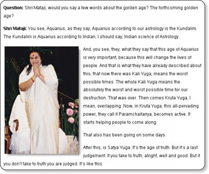 Question: Shri Mataji, would you say a few words about the golden age? The forthcoming golden age?   Sahaja Yoga Meditation... Questions & Answers